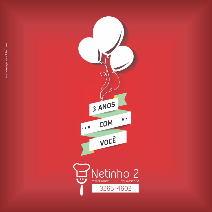 Arte - aniversário do Restaurante Netinho 2 - Facebook
