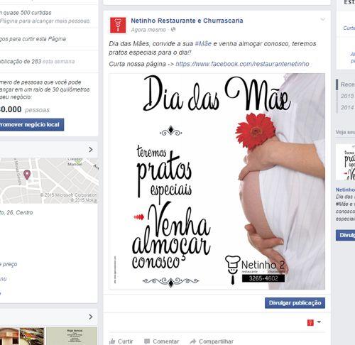 Ciração de imagens para post no facebook para a Publicidade Dia das Mães - Propaganda restaurante dia das mães - Restaurante Netinho