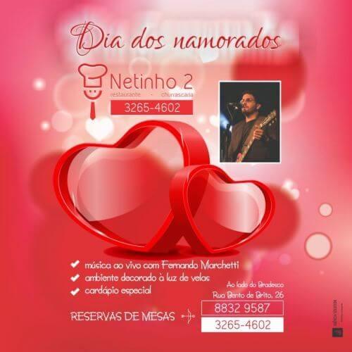 Ação de marketing data sazonal para o Dia dos namorados – Restaurante Netinho 2