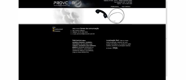 Desenvolvimento do web site – Provcom Telecomunicações
