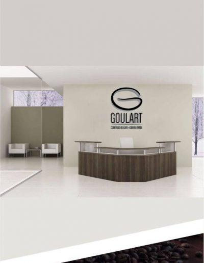 Recepção de uma cafeteria / empresa de café com a logomarca Goulart Comércio de café em alto relevo