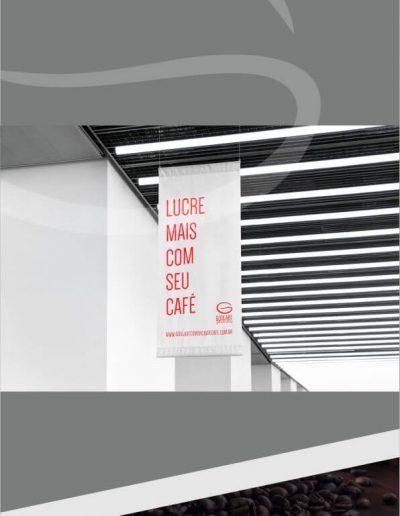 Criação de arte para banner suspensos com logotipo para empresa de café