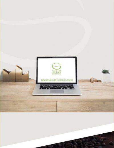 Logotipo para café simulado na tela de um computador