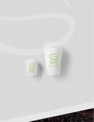 Logomarca aplicada em copos de café
