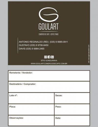 Desenho / arte para saquinhos de amostra de café da empresa de café com logo profissional Goulart Comércio de café