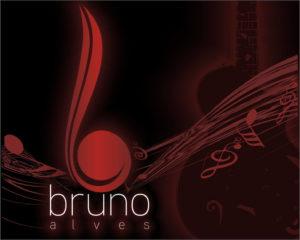 criação de logomarca logotipo para musico bruno alves com notas musicais ao fundo